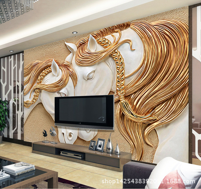 Seamless 3d Horse Large Mural Reliefs Cozy Living Room Sofa Tv Background Wallpaper Wall