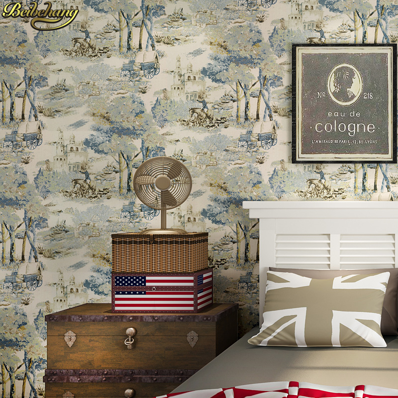 beibehang Retro American Village Wallpaper Hand Paints Oil Paintings Nostalgic Bedroom Living Room Background Nonwovens