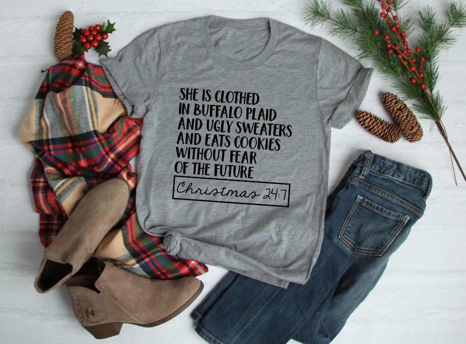 d2ba755e54 ... She is clothed in Buffalo Plaid t-shirt Cute Christmas Shirts for Women  slogan casual ...