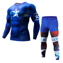 Fitness MMA compressie shirt mannen Marvel anime bodybuilding lange mouwen Crossfit straf T-shirt jas set(China)