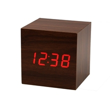 2017 New Design Square Wood Clock Digital Red LED Wooden Wood Desk Alarm Brown Clock Voice Control High Quality Room Decor