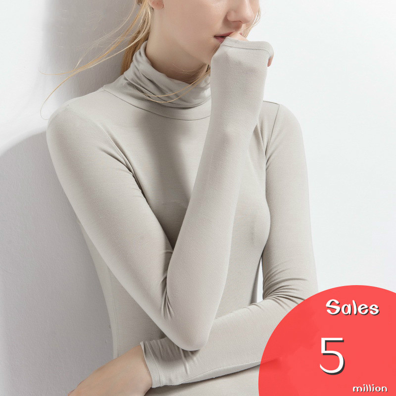 2018 European women slim spring new modal Turtlenneck long sleeve solid color T-shirt XZ0001