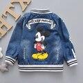 Fashion boy chicas chaquetas abrigos niños de mickey mouse de impresión de primavera y otoño de los bebés de mezclilla abrigos niños niñas outwear 1-3years