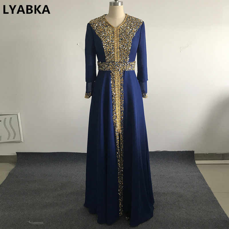 2019 New Dubai Kaftan Royal Blue Chiffon Evening Dresses Caftan Muslim  Evening Dress Long Sleeve Evening bc91d9402877