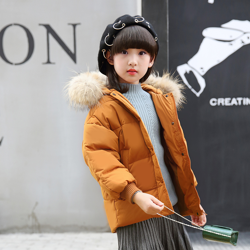 2017 Russian Winter Warm Boys Girls snowsuit Children's Duck Down coats jacket with fur Warm baby girl down jacket a15 girls jackets winter 2017 long warm duck down jacket for girl children outerwear jacket coats big girl clothes 10 12 14 year