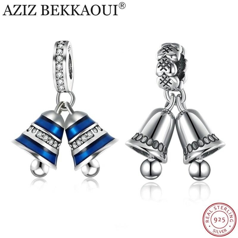 Real 925 Bells encanto encajar DIY collar pulsera auténtica joyería de plata azul campana Navidad regalo