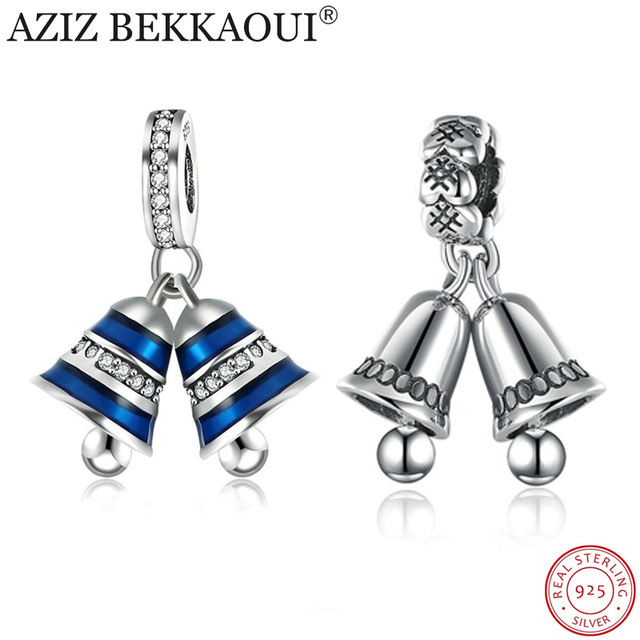 558b4d38f Real 925 Sterling Silver Bells Charm Fit Original DIY Bracelet Necklace  Authentic Silver Jewelry Blue Bell