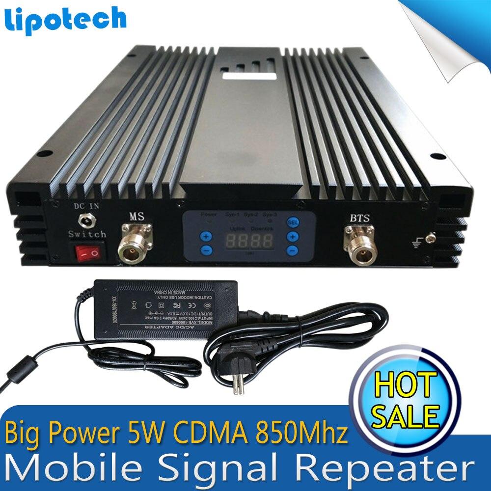 5 W souper puissance CDMA 3G UMTS 850 mhz amplificateur de Signal de téléphone portable GSM 850 mhz amplificateur cellulaire 85dBm répéteur à Gain élevé