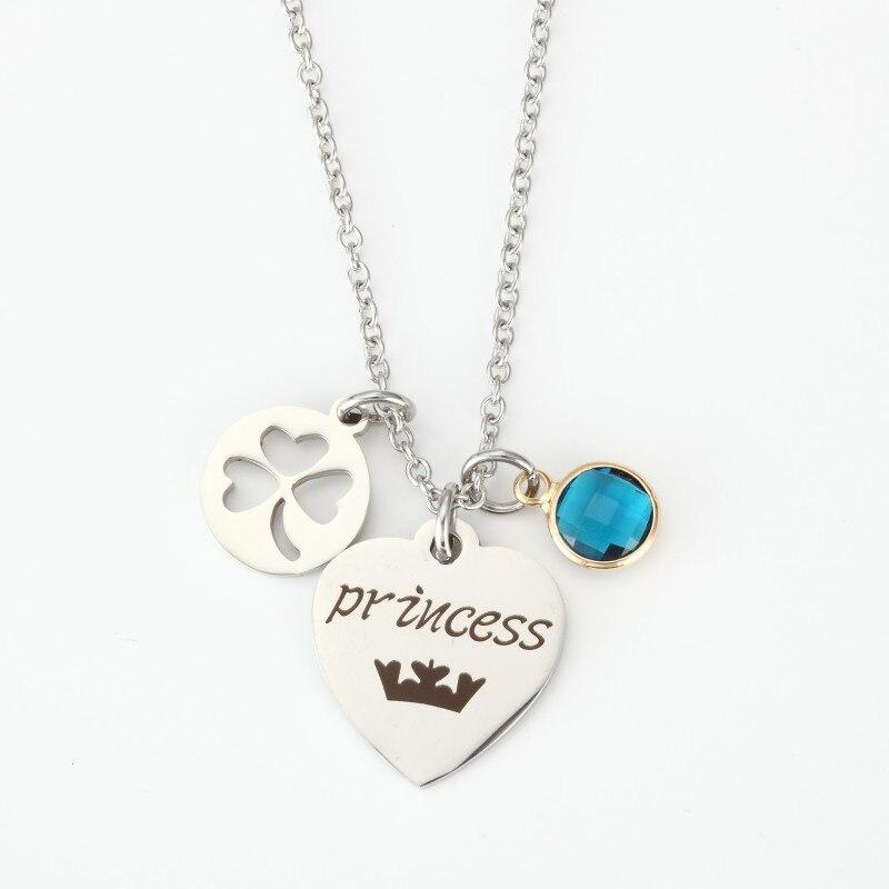 Offre spéciale argent coeur princesse collier creux trèfle pendentif collier femmes filles bleu cristal collier