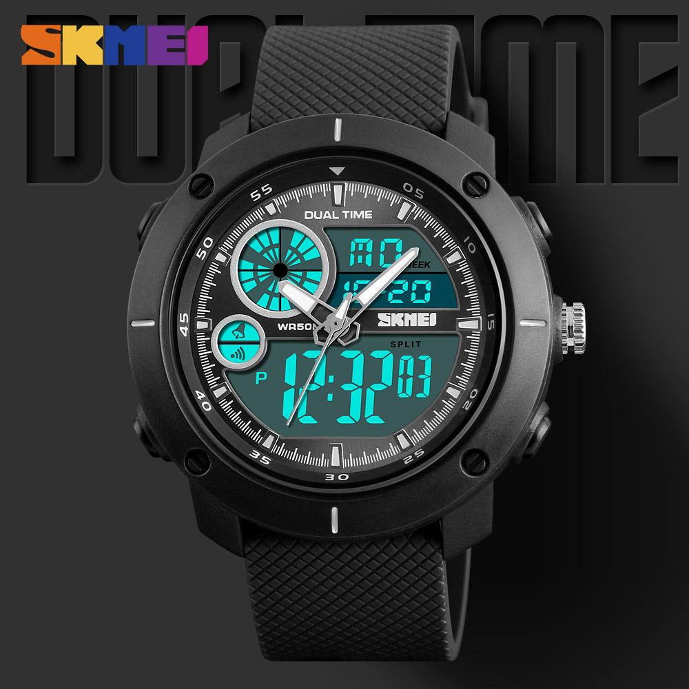 SKMEI Men Sports Watches EL Light Double Time Watch Alarm Chrono Digital Wristwatches 50M Waterproof Relogio Masculino saat 1361 2018 amuda gold digital watch relogio masculino waterproof led watches for men chrono full steel sports alarm quartz clock saat