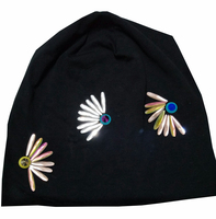 B 17817 Fashion 100 Cotton Good Stretch Water Droplets Crystal Beanies Colors Crystals Fan Hat Solid