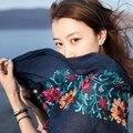 174 х 88 см Женщины Вышитые Льняные Vintage Этническом Стиле Тонкий Срез Шелковые Нити Женщины Длинный Шарф Шаль Одежда Accessarie