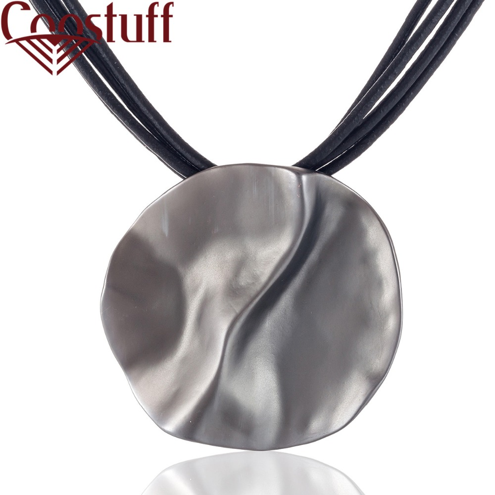 Hot Sale Women Jewelry Black Leather Chokers Necklace With Grey Pendant Necklaces & Pendants Collares Mujer Colar Choker