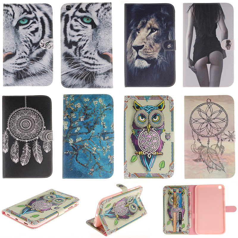 DEEVOLPO Fashion Cartoon Tiger Lion Pattern PU Leather Flip Case For Samsung Galaxy Tab 3 8.0 SM-T310 SM-T311 Cover Fundas DP00E pu leather tablet case cover for samsung tab 3 8 0 t310 t311 t315 sm t310 sm t311 luxury stand e book protective shell 8 0 inch