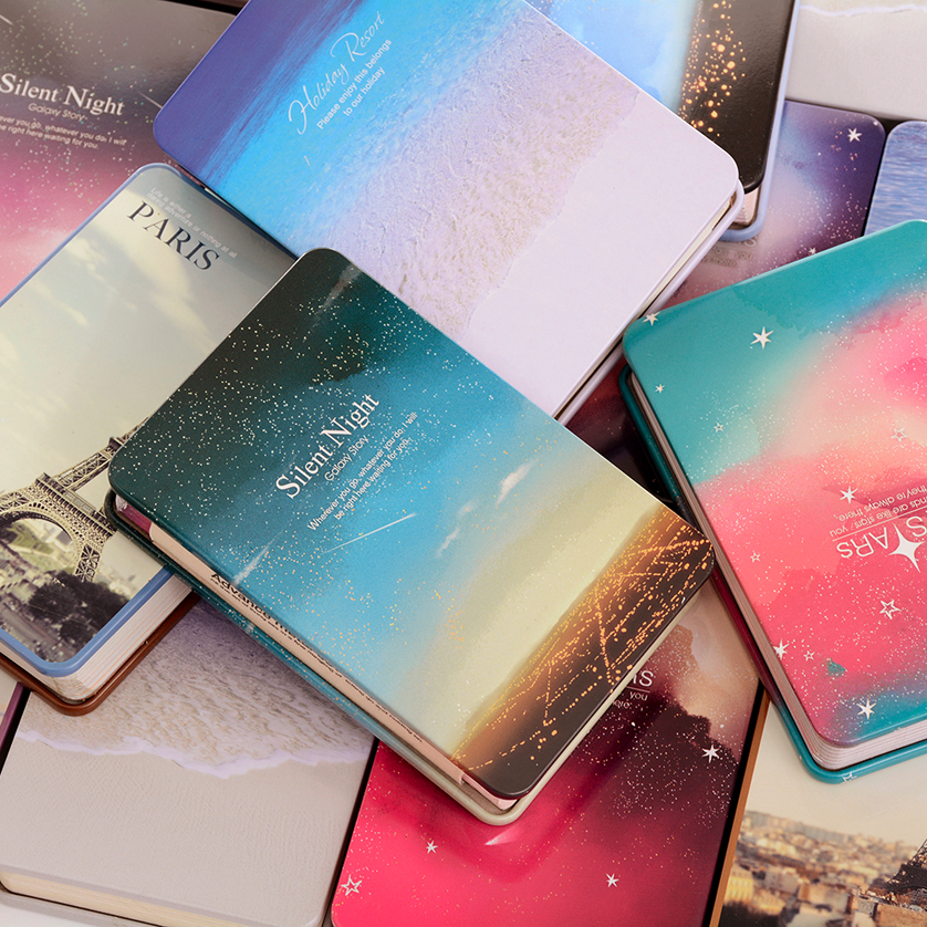 New HOt Sale Star Diary Notebook Color Paper Metal Cover Silent Night Notepad Book Journey Diary Note Book Random Color