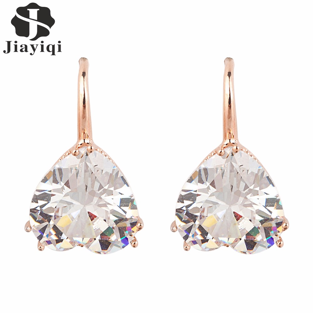 2017 Fashion Vintage Rose Gold Crystal Heart Cubic Zircon Dangle Earrings Summer Style Jewelry