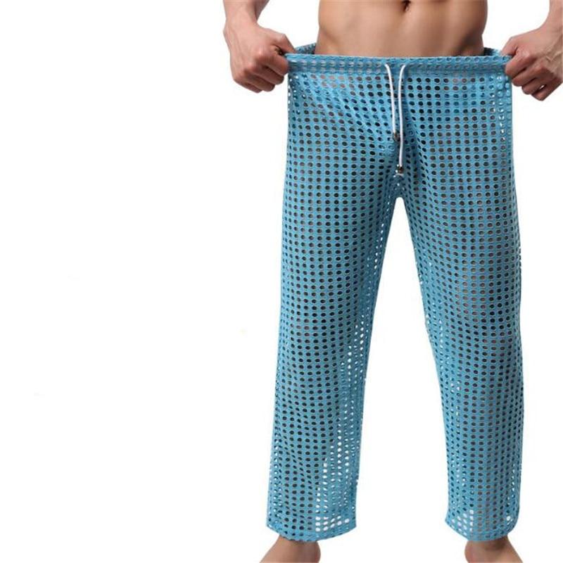Men's Pyjama Bottoms,Men's Mesh Breathable Pants.Men's Fashion Sexy Mesh Sleep Bottoms,Longs Pants