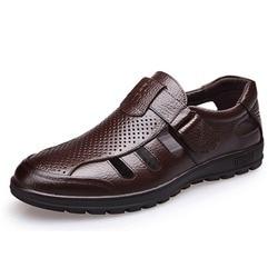 Genuine Leather Men Sandals Shoes Fretwork Breathable Fisherman Shoes Style Retro Gladiator Soft Bottom summer Classics men Bu
