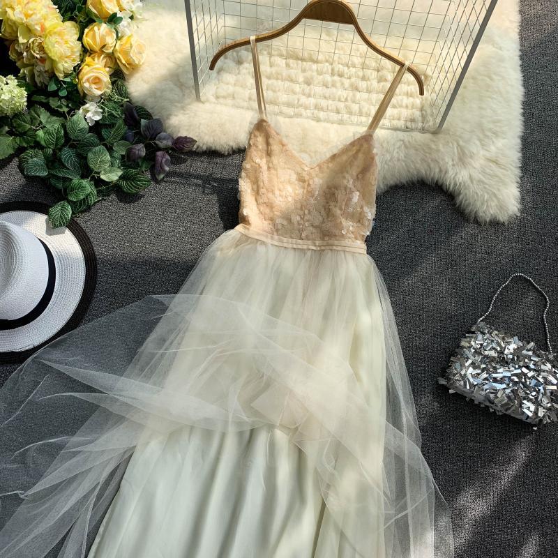 V-Neck Sequins Backless Sleeveless A-line Dress 4
