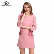 2017 весна осень новых женских карман кисти бахромой розовый черный хаки голубой faux suede dress длинным рукавом реальные фото