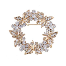 Fashion Rhinestone Brooch Flower Brooches For Women Wedding Bouquets Collar Clip Scarf Buckle Hijab Pins 15020406