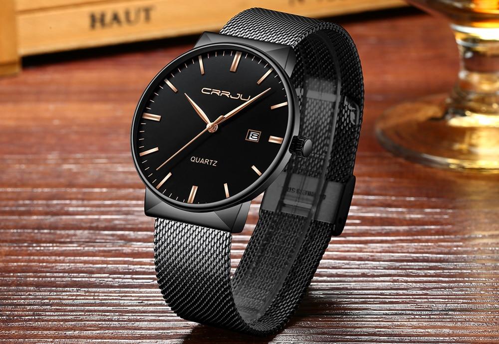 Luksusowa marka Black CRRJU Full Steel Quartz Watch Men Casual - Męskie zegarki - Zdjęcie 4
