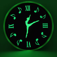 12 Inch Dancing Notes Luminous Wall Clock Glow In The Dark for Bedroom Living Room Hanging Clock Modern Mute Home Decoration usb double colon plate in 12 glow tube clock pluggable hand switch