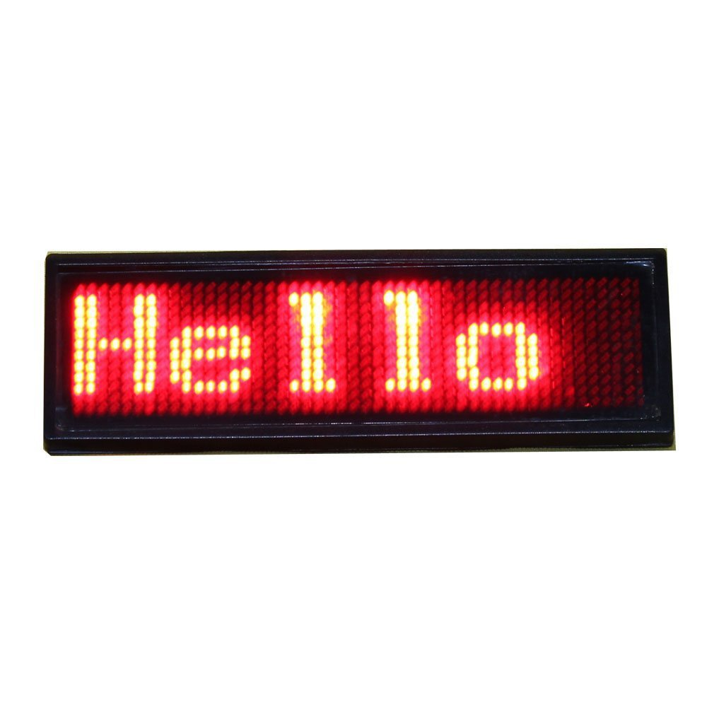 Red color LED Programmable rechargeable Scrolling Name Message Badge Tag Digital Display English Russian, etc many languages