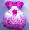 Мода малышей пасхальные платья поддельные две пьесы набор цветочные вышитые симпатичная девушка пышное платье