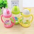 Copo quente 300 ml cute baby crianças crianças aprendem a beber alimentação sippy mamadeira pega palha garrafa de água copo de treinamento 3 cores