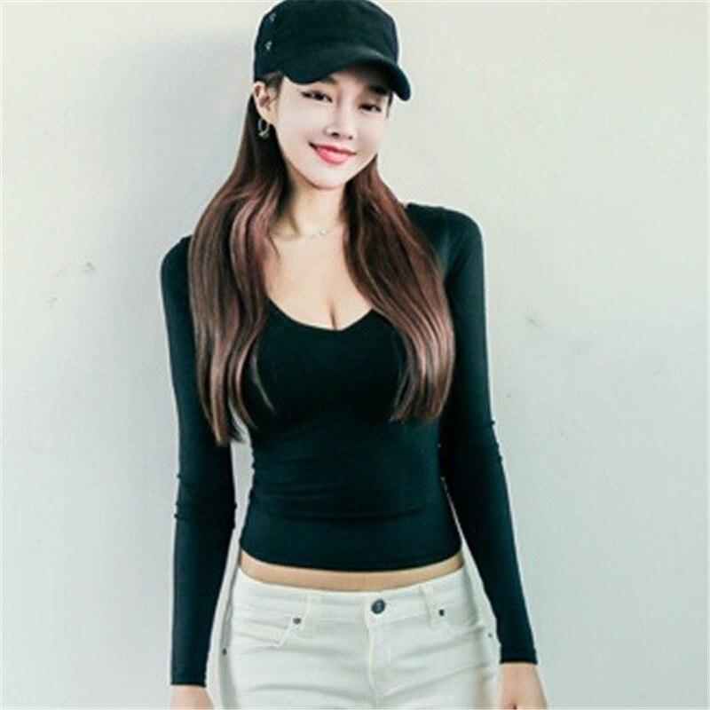 S/M Long Sleeve Black T Shirt V Neck Women Sexy Tight Slim T Shirt ...