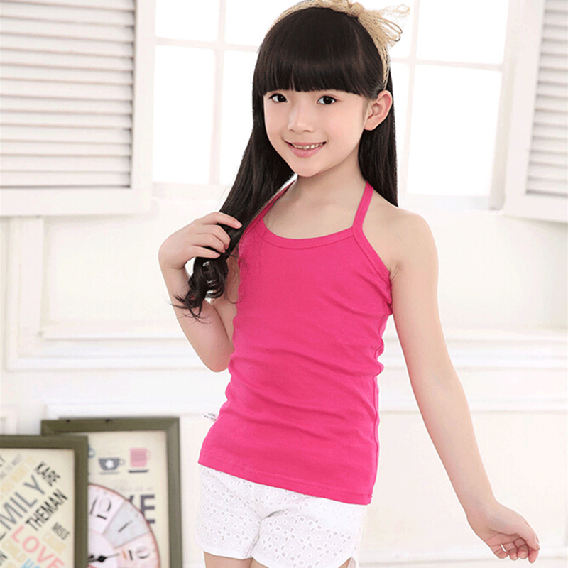 New Solid Tanks For Girls Cotton Comfortable Sling Slim Clothes Fashion Camisole Kids Underwear Children Clothing Free Shipping (8)