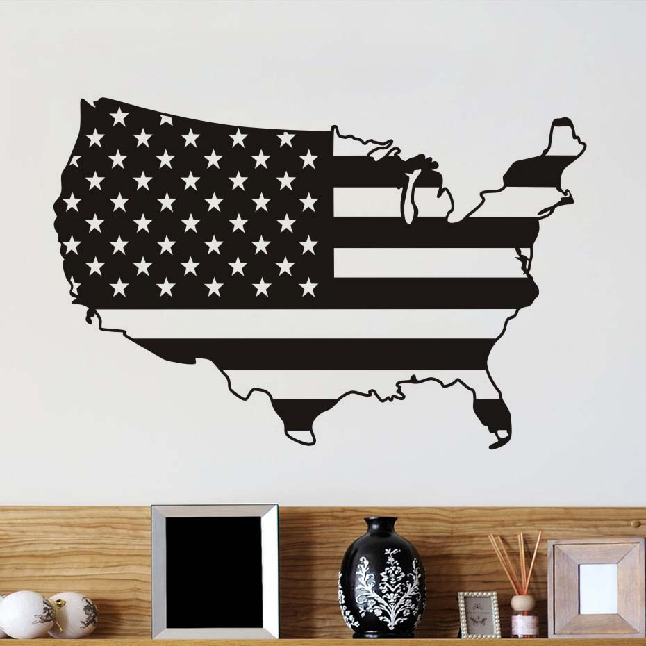 USA Flag Map Wall Sticker For Living Room For Living Room
