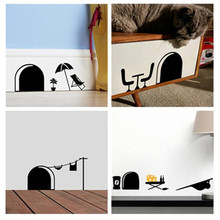 cute DIY Mouse Holes Rats Family summer style home decal wall stickers children kids room decoration stickers Stairs decor(China)