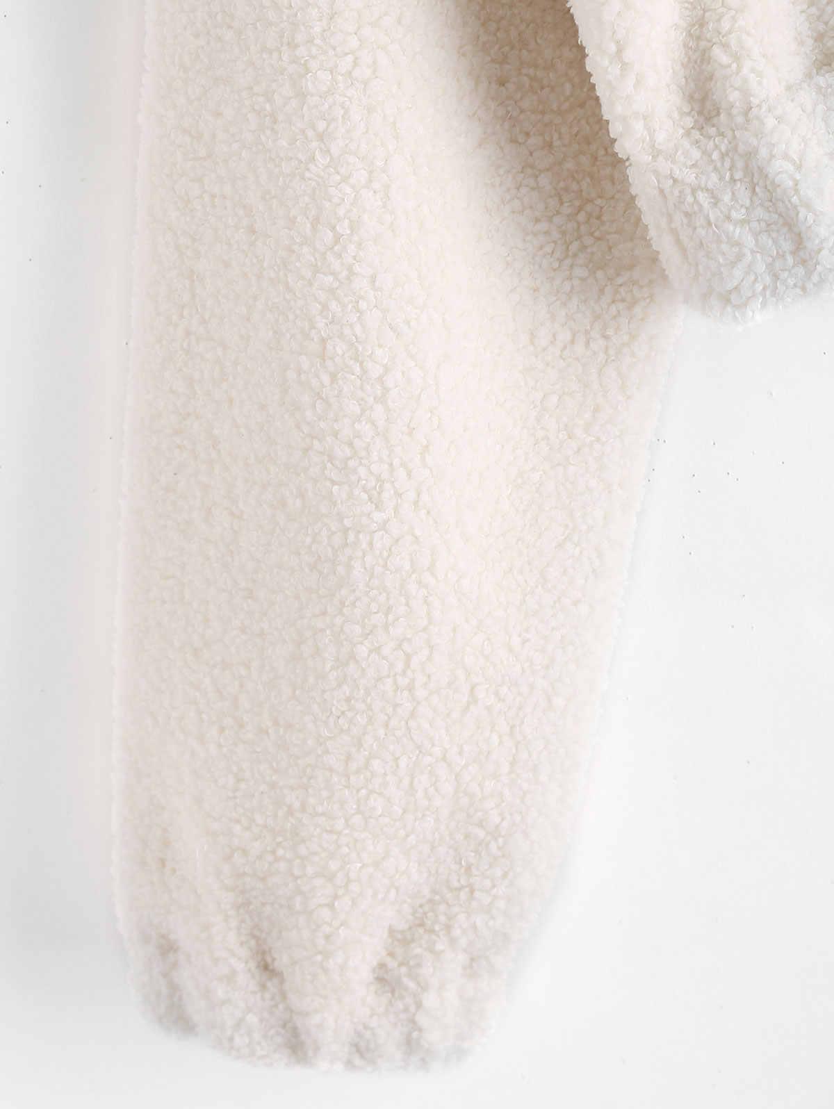 ... AZULINA Half Zip Plain Faux Fur Sweatshirt Mock Neck Sweatshirt Sherpa Sweatshirts  Hoodies Women Tops Pullovers f07bb164c