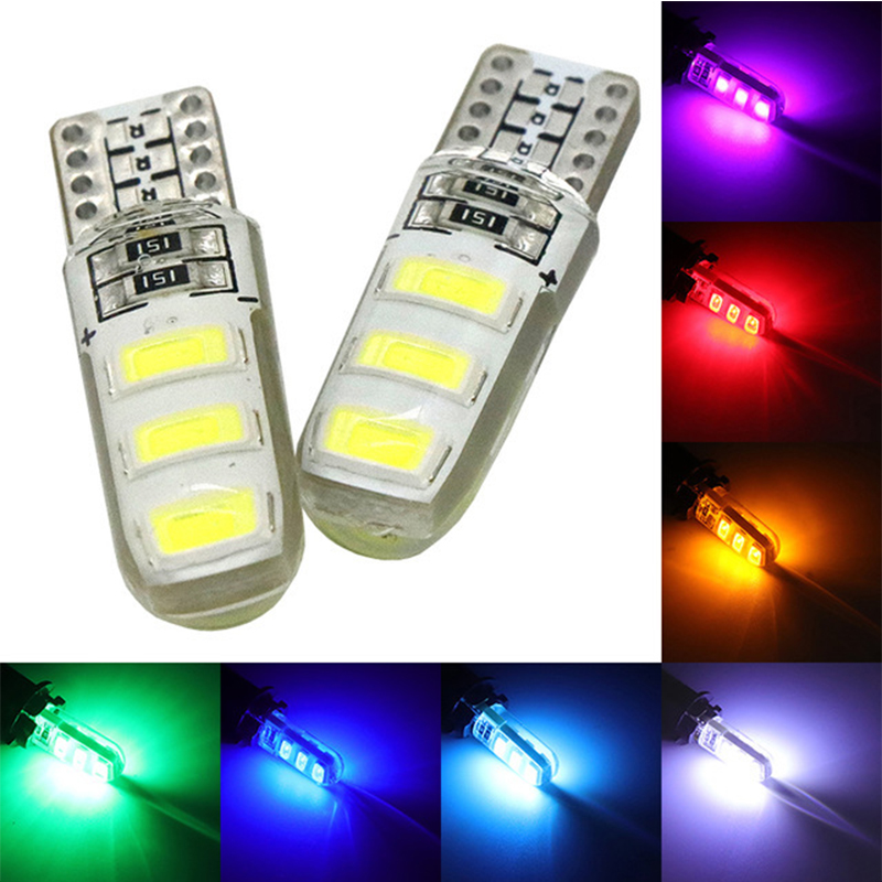 2pcs LED Light W5W T10 5630 6SMD Silicone LampSource Instrument Side Bulb Plate Lamp White Blue Green Red Yellow in Emergency Lights from Lights Lighting