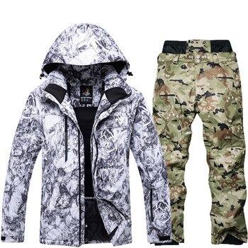 Outdoor professional ski suit men's winter ski jacket windproof waterproof 10000 mountaineering jacket + bib warm pants
