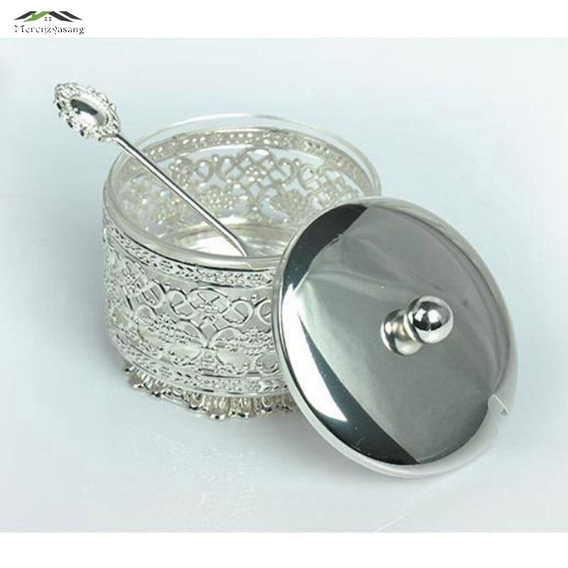 Nuevo Elegante acabado en plata metal acrílico sal / azúcar / té / - Cocina, comedor y bar