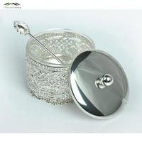 New Elegant Silver Finish Metal Acrylic Salt Sugar Tea Coffee Jars High Quality Crystal Inner Caster