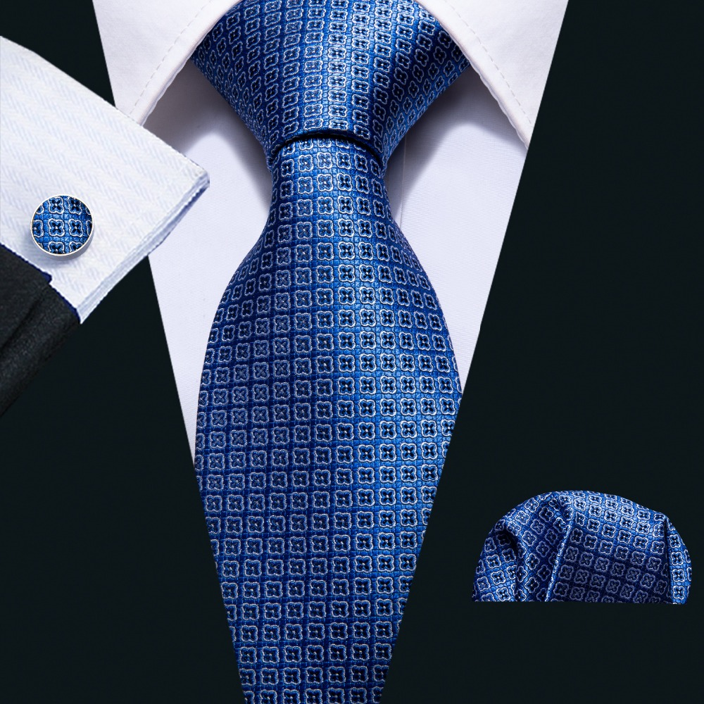 2018 Blue Geometric Floral Pattern 100% Silk Men Tie Barry.Wang 8.5cm Woven Business Necktie Set Dropshipping Men Gift FA-5053
