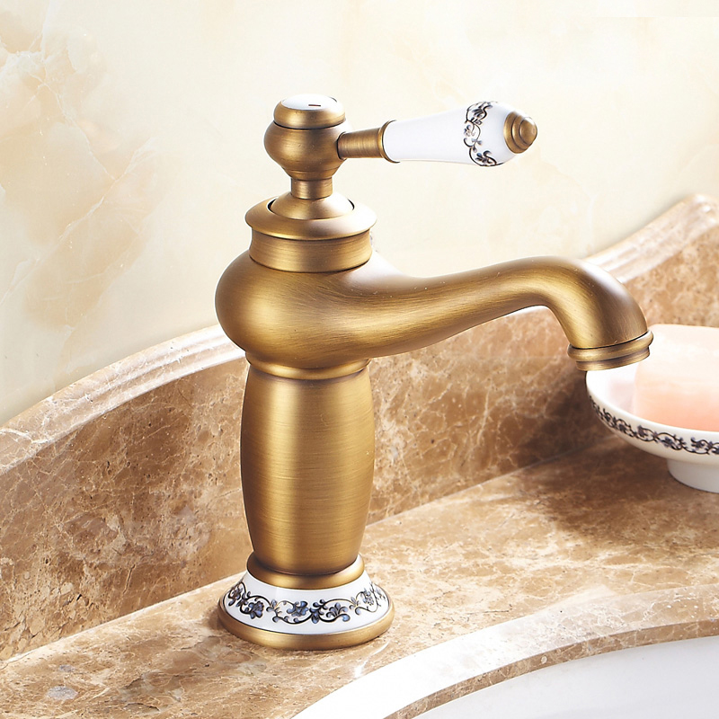 Free Shipping Solid Brass Antique Faucet Bathroom Faucet Ceramic Handle Single Hole Bathroom Tap Basin Mixer torneira banheiro