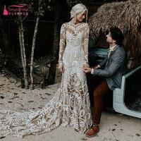 Floral Back Bohemian Country Vintage Wedding Dresses 2018 Greek Goddess jewel Long Sleeve Forest Garden farm Bridal Dress ZW093