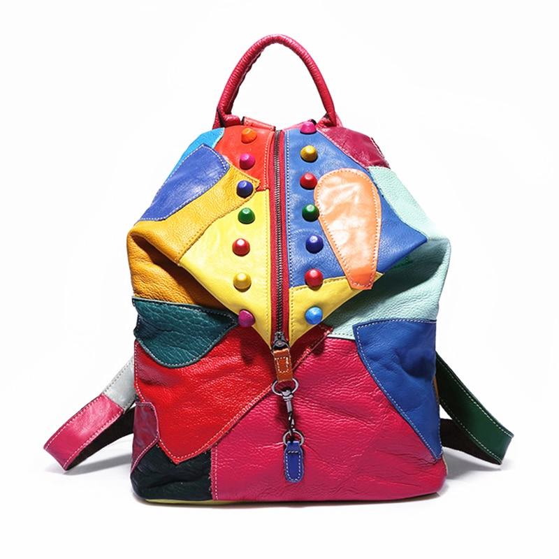 def7888c6 عالية الجودة 100% حقيقي جلد النساء حقائب جلد البقر حقيبة mochila الأنثوية  المدرسة أسلوب preppy