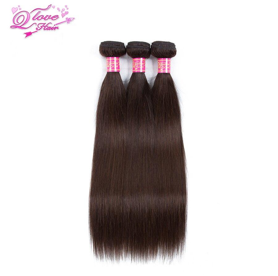 Quenn Love Hair Pre-Colored Brazilian Straight Wave Hair 3 Bundles #2 Human Hair Extensions 3PC Non-Remy Human Hair Extensions