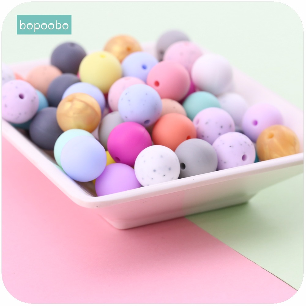 Bopoobo Baby Nursing Accessories 12mm Silicone Beads 50pc Food Grade Teether DIY Jewelry Bracelet Crib Toy Baby Teether