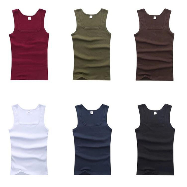 2018 Cotton Plus Size Summer Men Clothing Tank Tops Black White Gray Singlets Sleeveless Fitness Men Vest Bodybuilding T Shirt