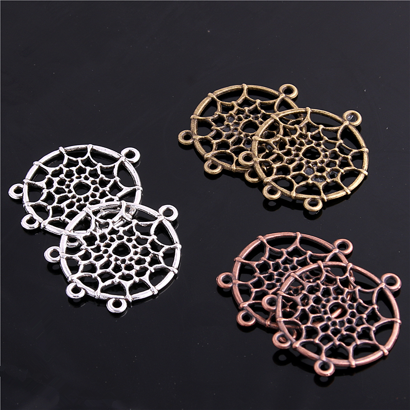 20pcs Vintage Hollow Dream Catcher Charms Connector Beads for Jewelry Making