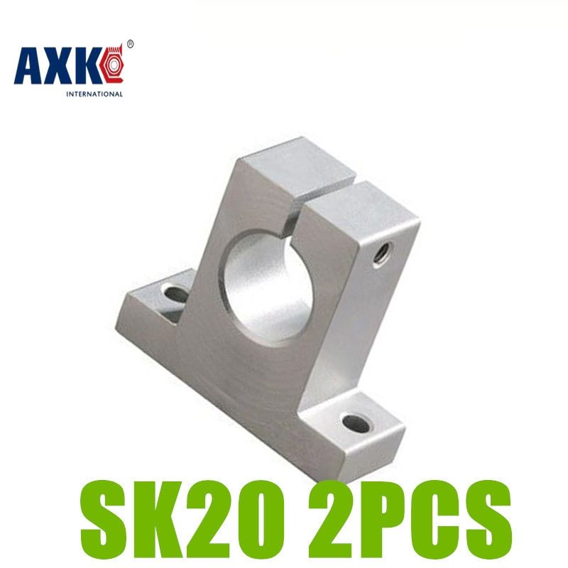 AXK 2pcs/lot  SK20 SH20A Linear Rail Shaft Support XYZ Table CNC parts SK20 sk16 sh16a 16mm linear rail shaft support xyz table cnc 2pcs lot