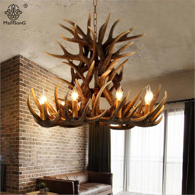 Europe Country 9 Heads Candle Antler Chandelier Vintage Lights American  Retro Resin Deer Horn Lamps For