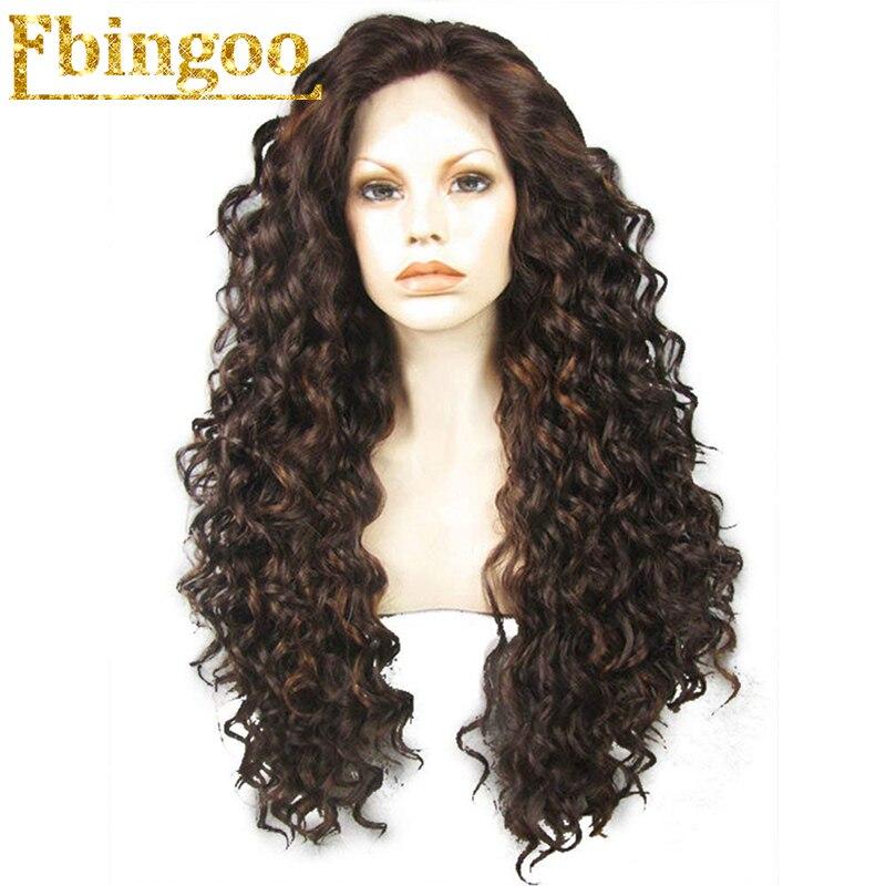 Ebingoo Hair Cap High Temperature Fiber Peruca Natural Long Deep Wave Dark Brown Lace Front Wig